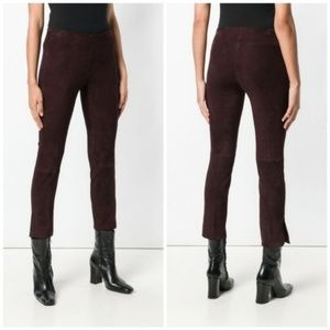 Vince Suede Leather Cropped Pants Legging Stretch